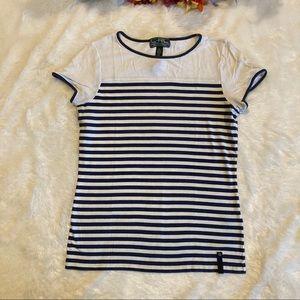LRL Active RL Blue White Stripe Tee Shirt Sz M